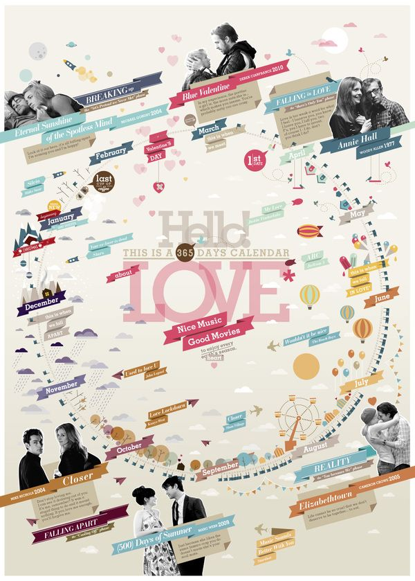 Great infographic idea for a wedding invite if you wanted to do this for your life as a couple: Love Calendar by Federica Bonfanti, via Behance