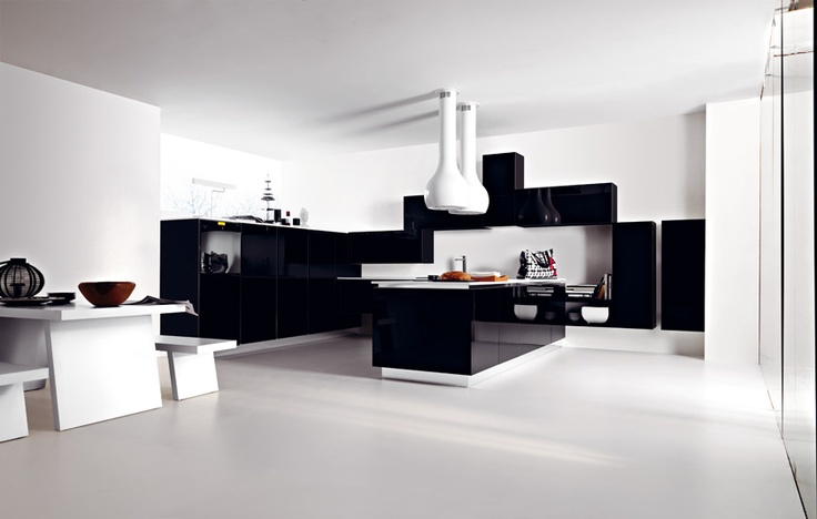 #Ariel in eco-gloss nero lucido. Ariel in eco-gloss black. #Cesar #Cucine #Kitchens