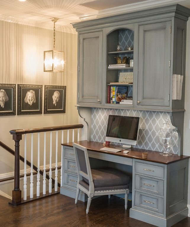 kitchen office desk. Gray Built-in Desk. Kitchen Office Desk