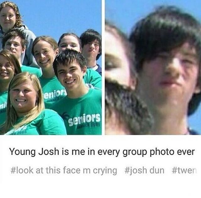 I love pictures of baby Josh because he was so emo and it's adorable! Also he's not wearing the green shirt everyone else seems to be wearing... Me too, Josh.