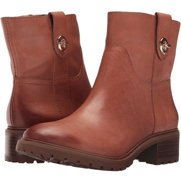 COACH Georgetta (Saddle Burnished) Women's Shoes ($245) ❤ liked on Polyvore featuring shoes, boots, ankle booties, ankle boots, zipper boots, zipper ankle boots, block heel booties, short leather boots and round toe ankle boots