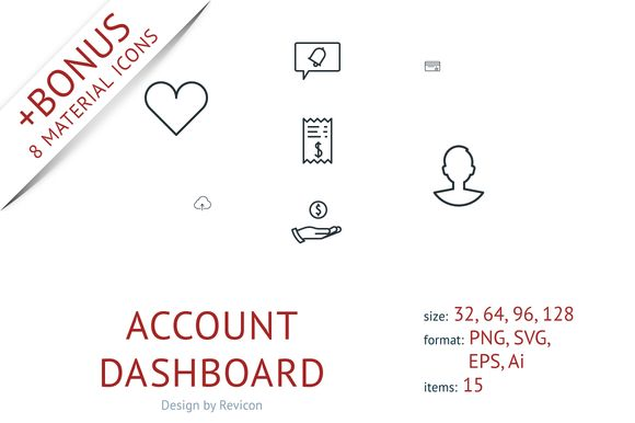 Account dashboard (15 icons) by Revicon on @creativemarket