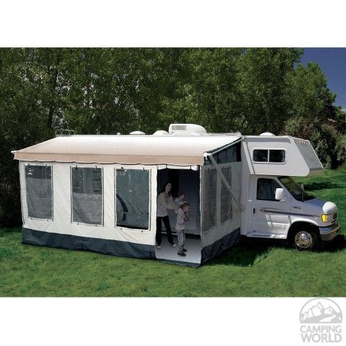 CAREFREE/CO. For Full Size Bag and Box Awnings With 14 Foot 9 Inch Length; Fits Awning Rail To Ground Measurements of 86 Inches to 120 Inches; Tent Material; Gray With Dark Trim; Rafter Mount; Does Not Mount To Awning Canopy; With Stakes/ Skirting/ Storage Bag