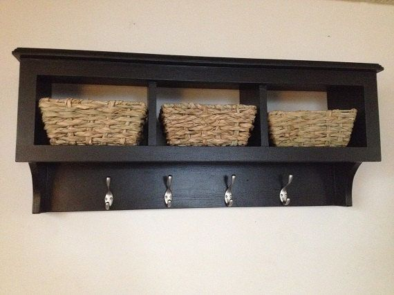 36 cubby wall coat rack shelf storage organizer with baskets regular paint or distressed. Black Bedroom Furniture Sets. Home Design Ideas