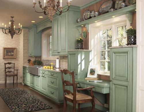 The Colors of Rustic Kitchen Cabinets...I would do this if my husband wouldn't freak out.