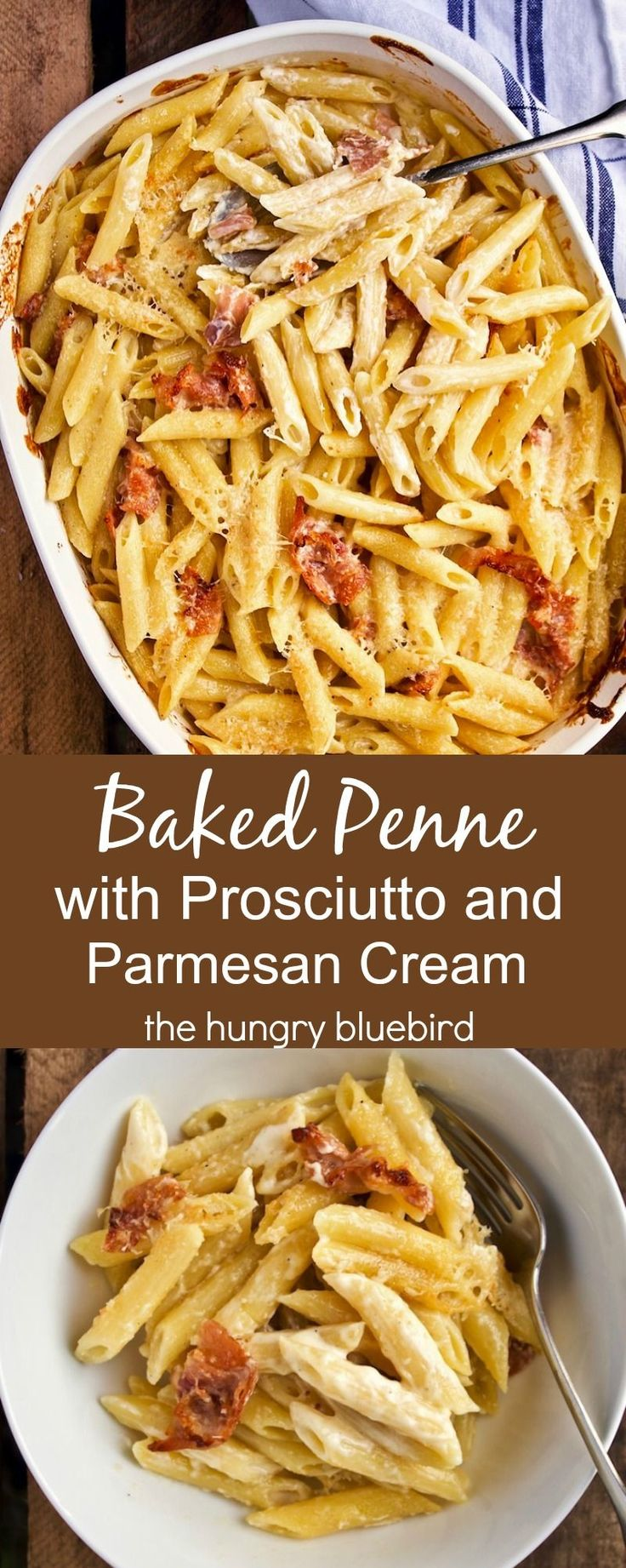 Baked Penne with Prosciutto, Parmesan & Cream