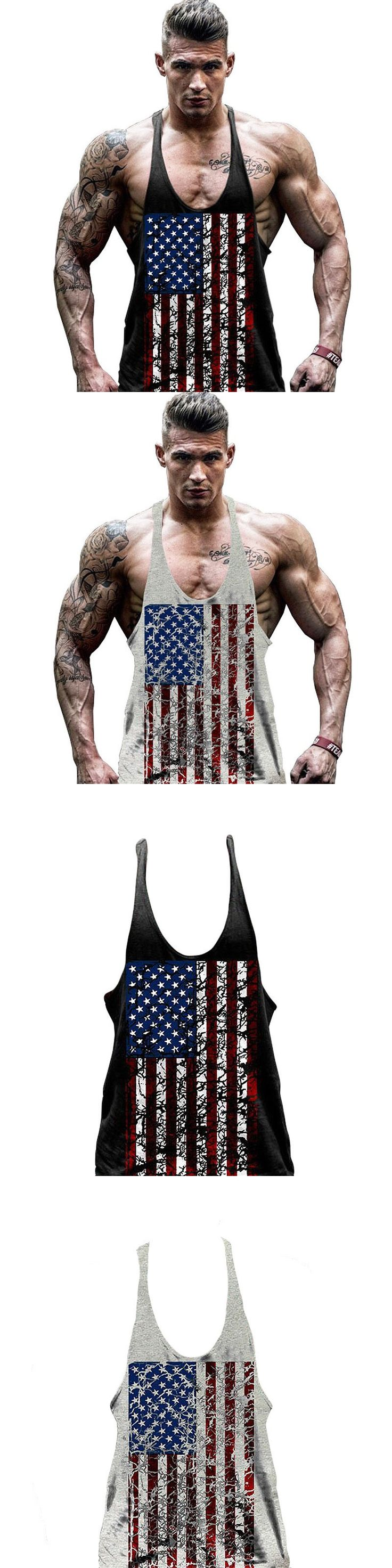 Mens Y Back Stringer Tank Tops American Flag Cotton Fitness Clothing Bodybuilding Tank Top Workout Tank Casual Fitness Singlet