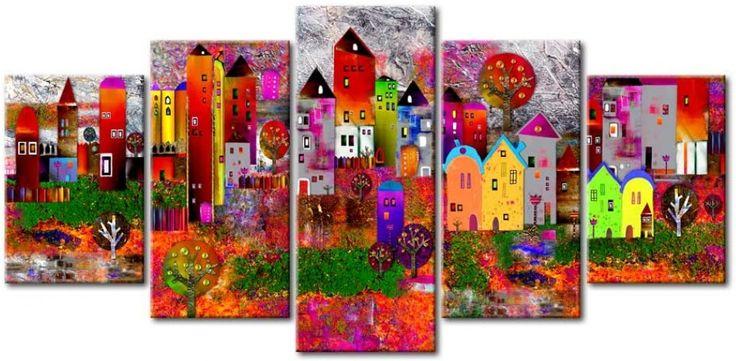 Cuadro Colourful Small Town Imagínate una pared blanca o en color claro, muebles y este cuadro en el centro... Una pasada, ¿verdad? ¡Tienes que tenerlo! ღ