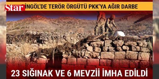 Bingölde PKKya darbe 23 sığınak ve 6 mevzii imha edildi : Bingöl Kiğıda düzenlenen operasyonlarda PKKya ait 23 sığınak ve 6 mevzii tespit bulundu. Tespit edilen sığınak ve mevzilerde çok sayıda yaşam malzemesi ile silah ve mühimmat ele geçirildi. Askeri kaynaklar tespit edilen sığınak ve mevziilerin sınırlardan sızarak gelmeye çalışan birçok PKKlı için hazırlandığının değerlendirildiğini belirtti…