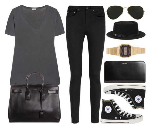 """Style #11035"" by vany-alvarado ❤ liked on Polyvore featuring Splendid, Yves Saint Laurent, Converse, Ray-Ban, Deena & Ozzy and Casio"