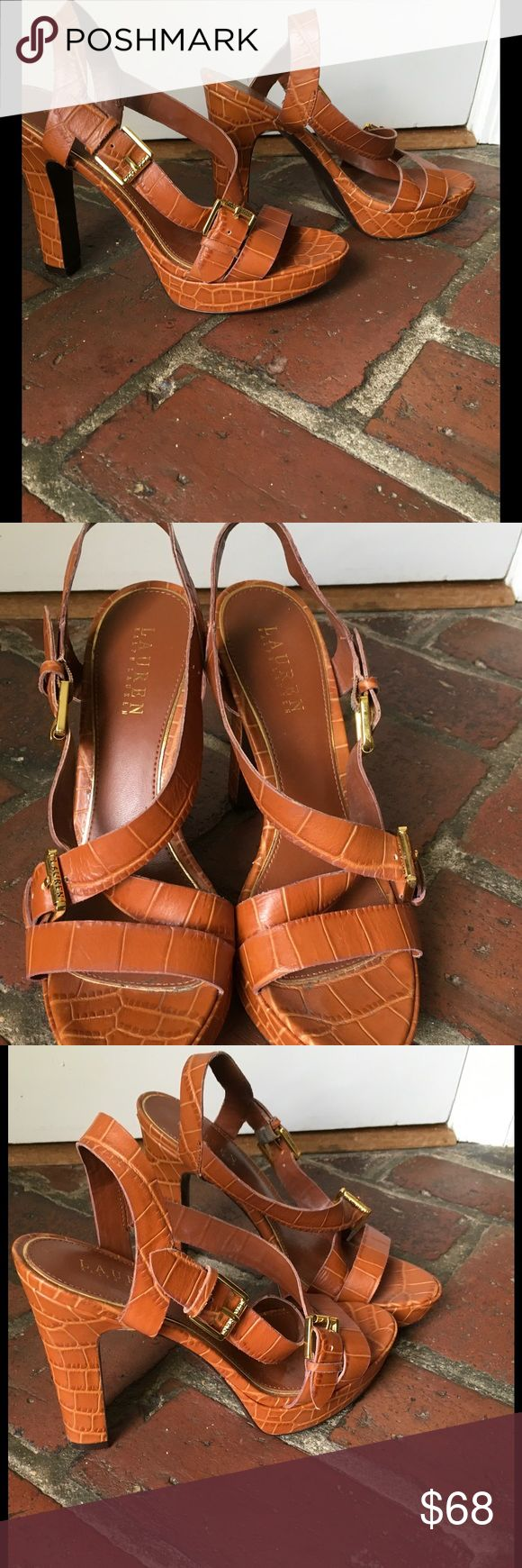 """RALPH LAUREN HEELS, SIZE 8.5 Cute, straps burnt orange/light cognac heels.  Lightly worn.  5"""" heel height Ralph Lauren Shoes Heels"""