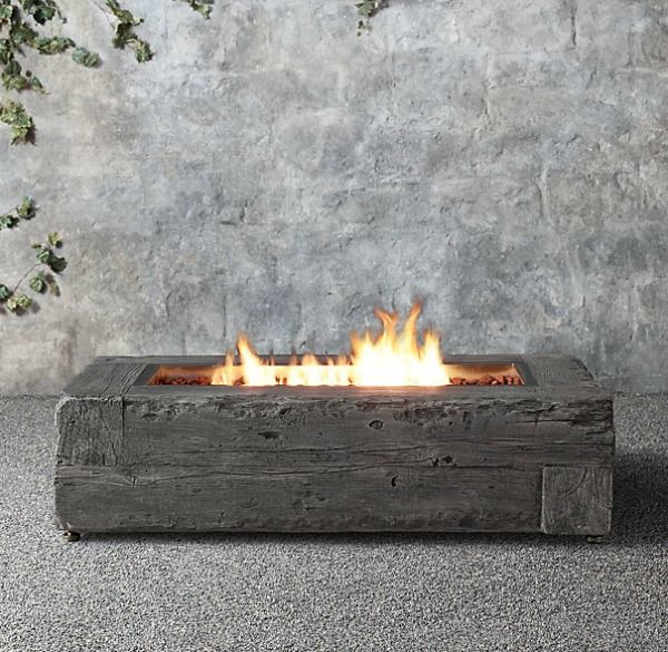 propane fire pit, cement that looks like woodgrain from Restoration Hardware - Driven by Decor... I want to make this myself!