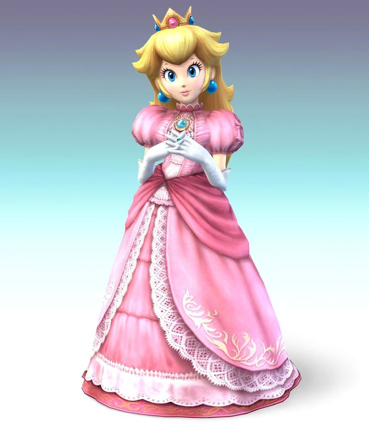 """Princess Peach has always looked great. But in the newest release of the Super Smash Bros Wii U game of 2014, she is refitted in even more layers of pink and lace. Her features have also been refined to look more """"mature"""" with more lashes, fuller lips, and a subtle nose job too! Her design changes over time emphasize the importance and value placed in her physical appearance."""