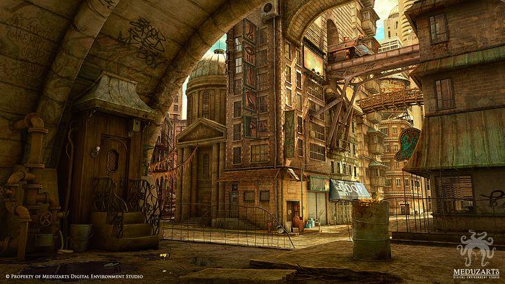 "Concept Art by Flavio Bolla Love the bazaar scene ""below"" the city."