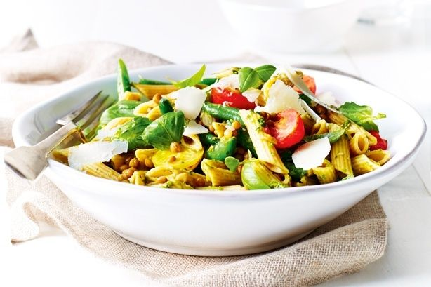 Lentils are a great source of protein in this vegetarian pasta salad with lentils, pesto and beans.