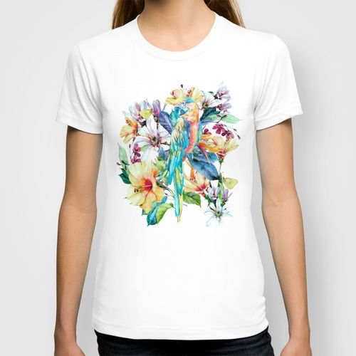 PARROT T-shirt #parrot #macaw #tropical #floral @Society6 #digitalart #wallart #women #tshirts