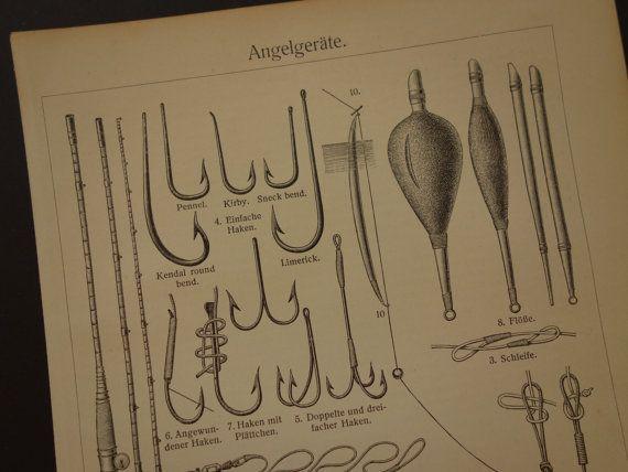 FISHING antique print of fishing equipment by DecorativePrints