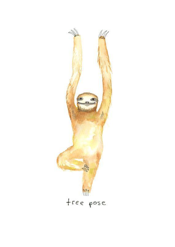 Digital Download Yoga Sloths Art Print Wall Art by TodayTripper
