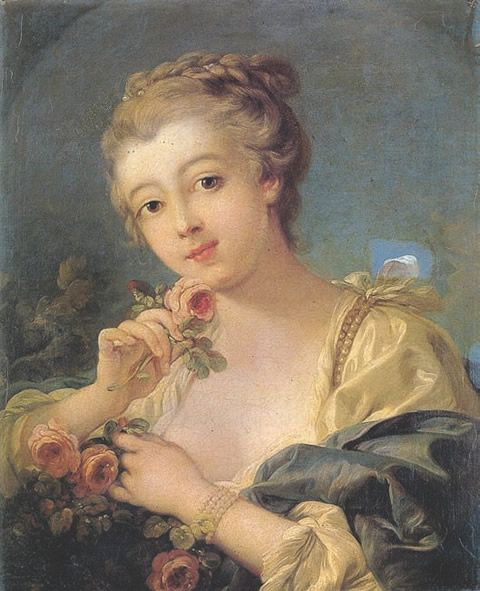 """François Boucher """"Tânără cu buchet de trandafiri"""""""
