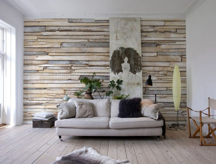 Whitewashed Wood Wall Mural Wallpaper