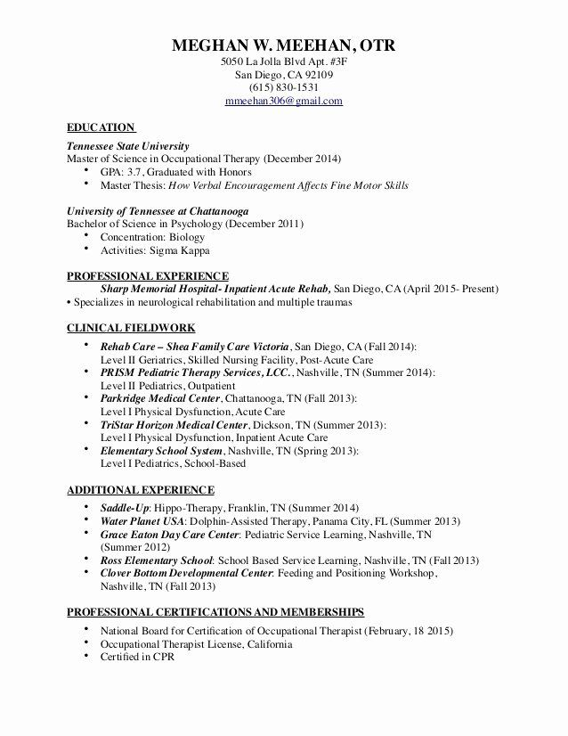 Pediatric Occupational Therapy Resume Sample Resumesdesign Pediatric Occupational Therapy Occupational Therapy Occupational Therapy Assistant