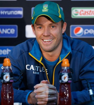 AB de Villiers speaks at a press conference on the eve of the semi-final between England and South Africa at The Oval