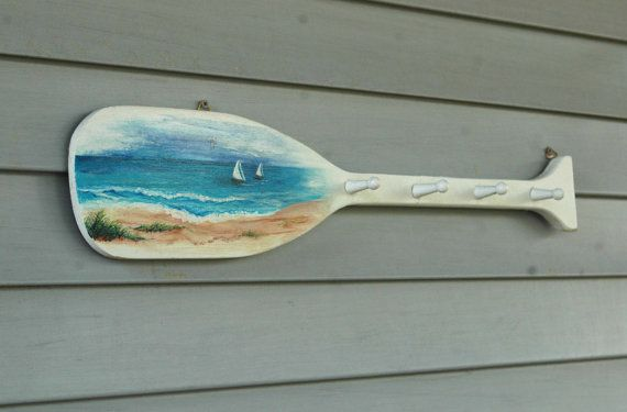 Painted Seascape on a Wooden Oar/Paddle by KaiHinaCoastal on Etsy, $65.00