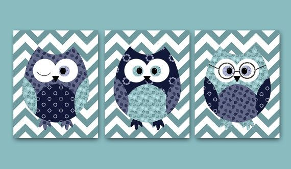 Owl Decor  set of 3 11x14 blue