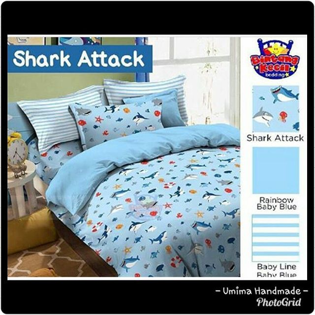 #shark #spreibirulaut #spreitemalaut #spreiikanhiu #bedding #bedsheet #spreidasarbirumuda #blue #sea #bedcover #bedroom #bedroomdesign #interior #interiordesign #umimahandmade #umima #umimahandmadecolection Katun Lokal / SET SPREI Single I (bed no 4) 100x200x20= IDR 125.000- Single II (bed no 3) 120x200x20= IDR 145.000- Queen (bed no 2) 160x200x20= IDR 185.000- King (bed no 1) 180x200x20= IDR 195.000- Extra King (Extra Besar) 200x200x20= IDR 215.000- Katun Lokal / SET SPREI & BEDCOVER Single…