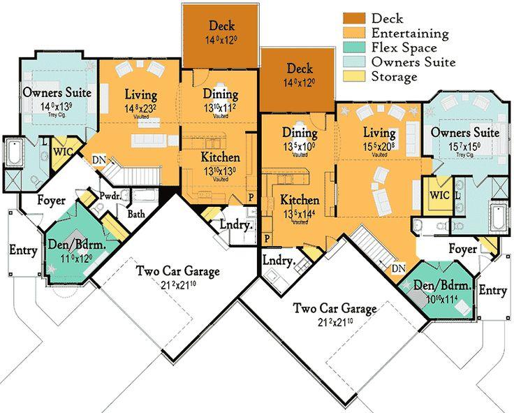 101 best duplex floor plans images on pinterest duplex for Corner lot duplex plans