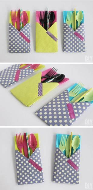 Crafting with Paper: DIY Utensil Holders! These little guys are so easy to make and they come in really handy at parties! Fun paper craft tutorial! Now let's party!
