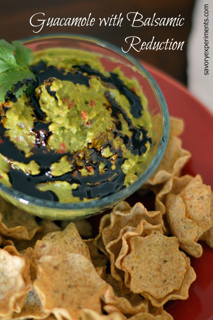 Guacamole with Balsamic Reduction Recipe - A new version of an old favorite with sweet balsamic vinegar! | #guacamole | www.savoryexperiments.com