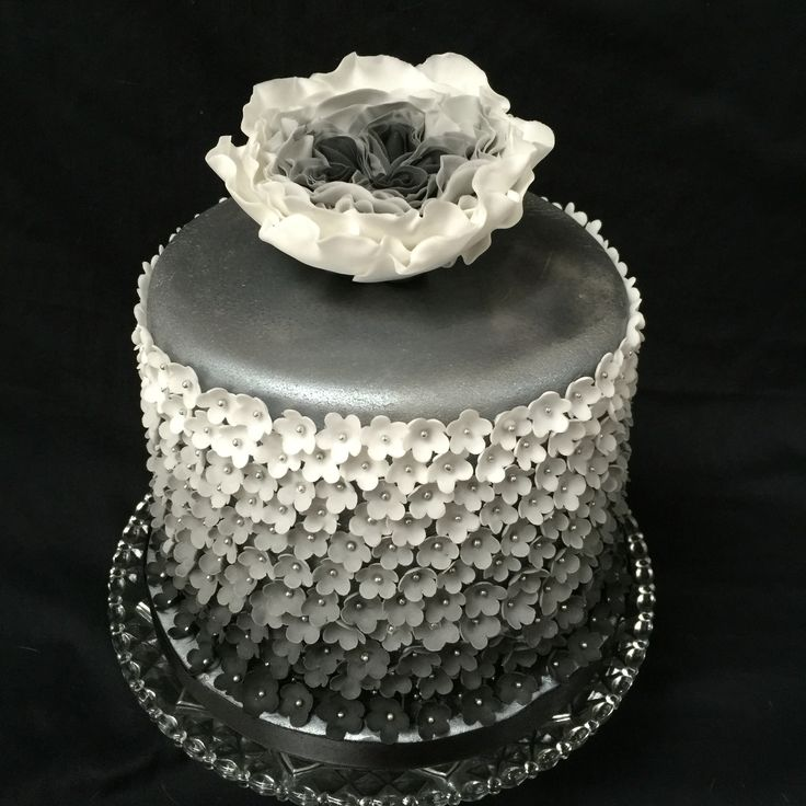 Black and white ombre cake with handmade sugar flowers and ...