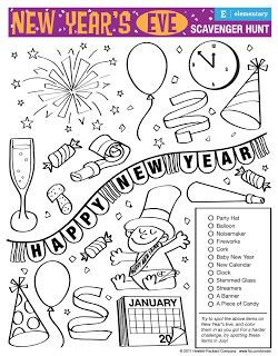 New Year's Eve scavenger hunt.  free printable game for kids.