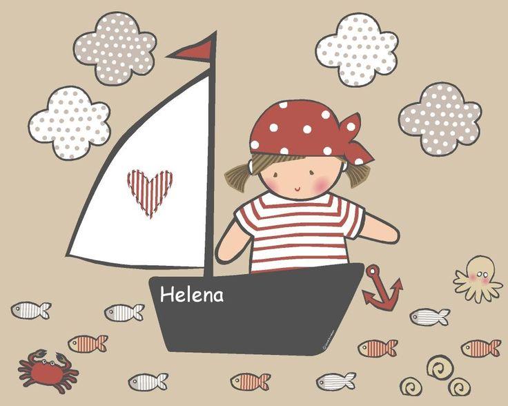 Vinilo infantil: Niña pirata - Esta colección está pensada para que decore una pared standard. Incluye: Niña pirata, barco de vela, 9 peces, 1 cangrejo, 1 pulpo, 3 caracoles y 1 ancla.  Altura del barco entero=62 cm. Se trata de vinilos de corte, todas las piezas se entregan troqueladas, sólo tienes que aplicarlas en la pared (su colocación es facilísima).  Los vinilos de Stencil Barcelona son de alta calidad, mates (ni brillan ni reflejan), y no pierden adherencia con el tiempo. ...