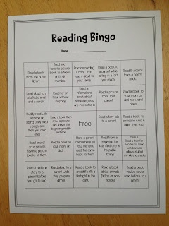 Reading Bingo with lots of reading to parents! So important for young readers!