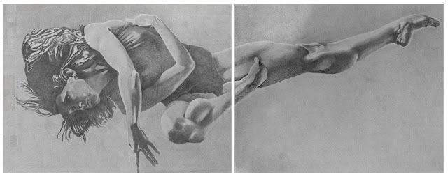 Heribert Stragholz : fliegend - Bleistiftzeichnung-2x 100x 70cm