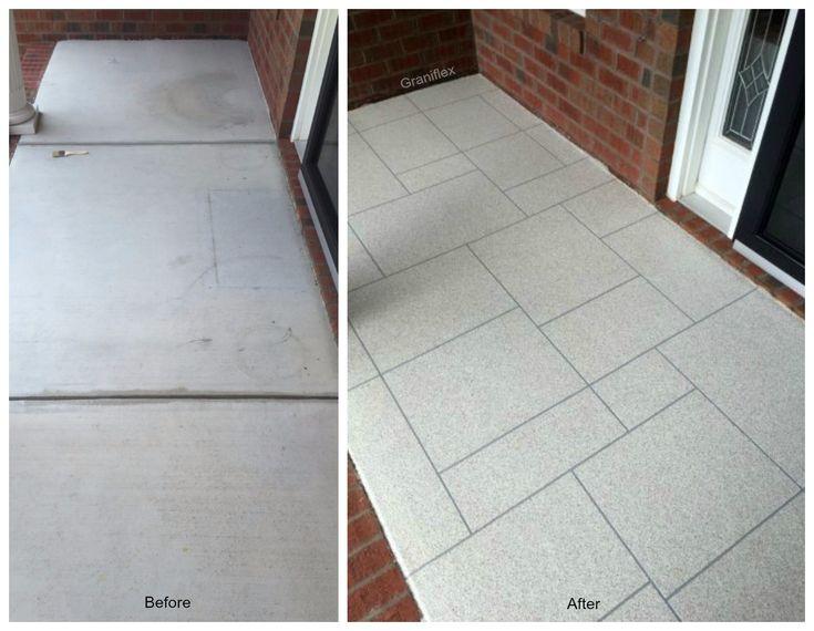 Concrete Resurfacing - Graniflex Ashlar Slate Porch Raleigh, NC