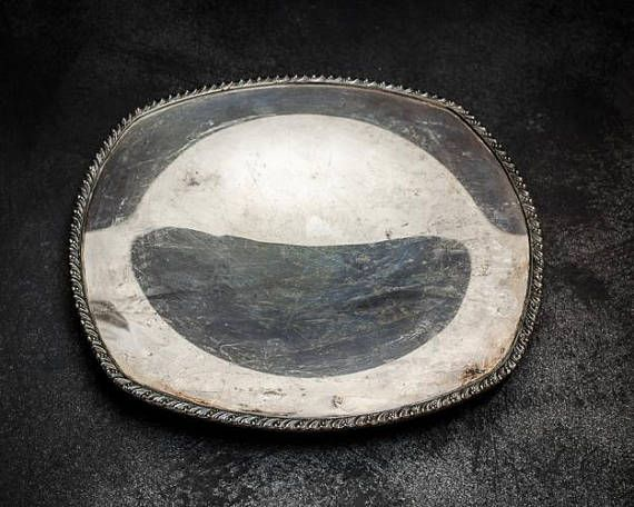 Tarnished Silverplate Serving Tray-Food Photography Props