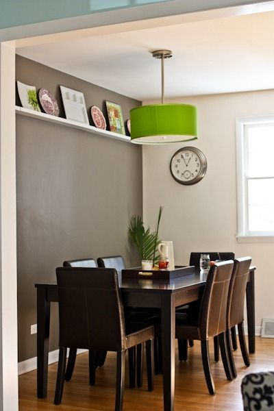 Kath 39 s dining room love the grey accent wall green apple for Light green dining room