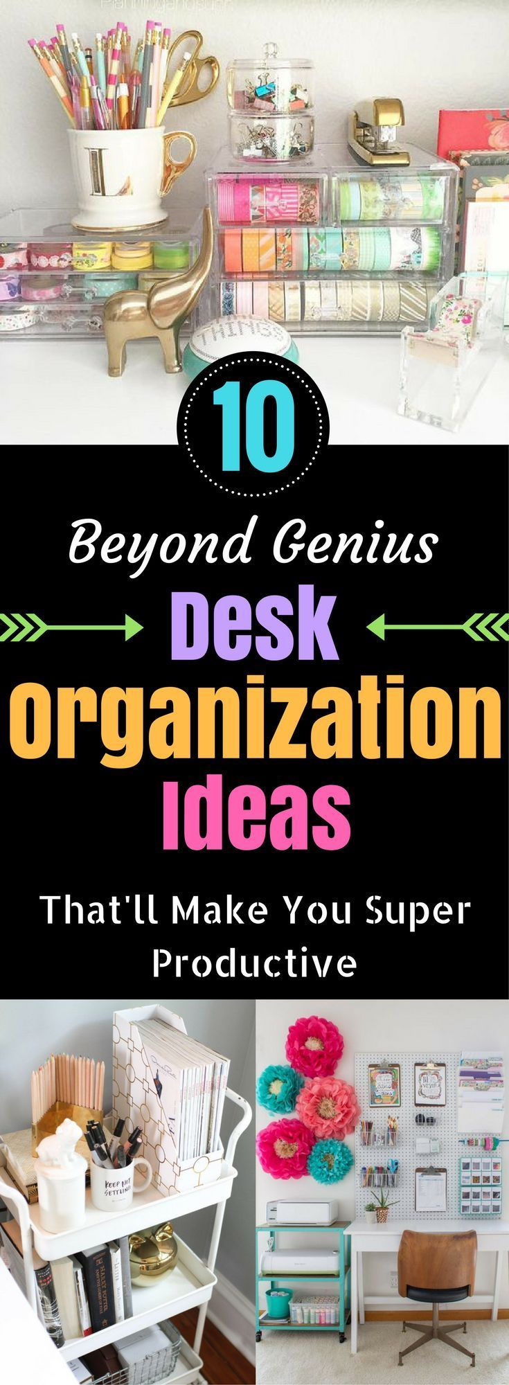 Organized desk ideas.  #organizationhacks #organisation #diy