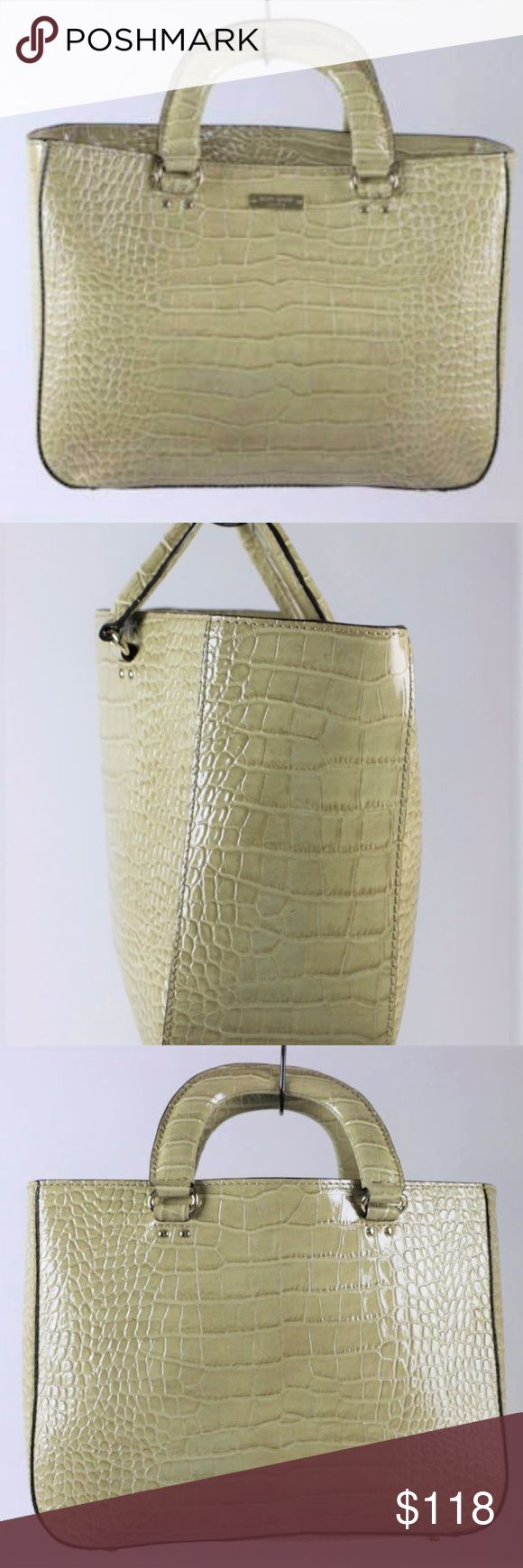 """KATE SPADE Embossed Crocodile Patent Leather Cream KATE SPADE EXCELLENT CLEAN CONDITION!!!  - 100% authentic - crocodile leather - cream color - medium size - measures H 10in x L 9.5 x W 4.5 -strap drop: 3in - satchel, handbag - gold hardware marked """"Kate Spade"""" - twin leather handles - interior has one compartment with multiple pockets; clean - inside magnetic snap and leather closure - leather is in excellent condition - shiny and nice - from a """"pet-free"""" and """"smoke-free"""" environment kate…"""