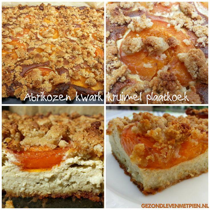 Recept voor Abrikozen kwark kruimel plaatkoek.  Gemaakt met groene stevia (gemalen blaadjes) en met verse abrikozen.  Tarwevrij, glutenvrij, granenvrij, suikervrij. Broodbuik