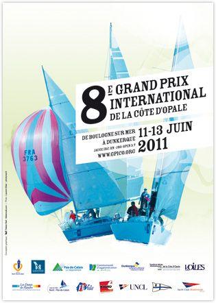 illustration pour affiche communication visuelle de la régate course de voile