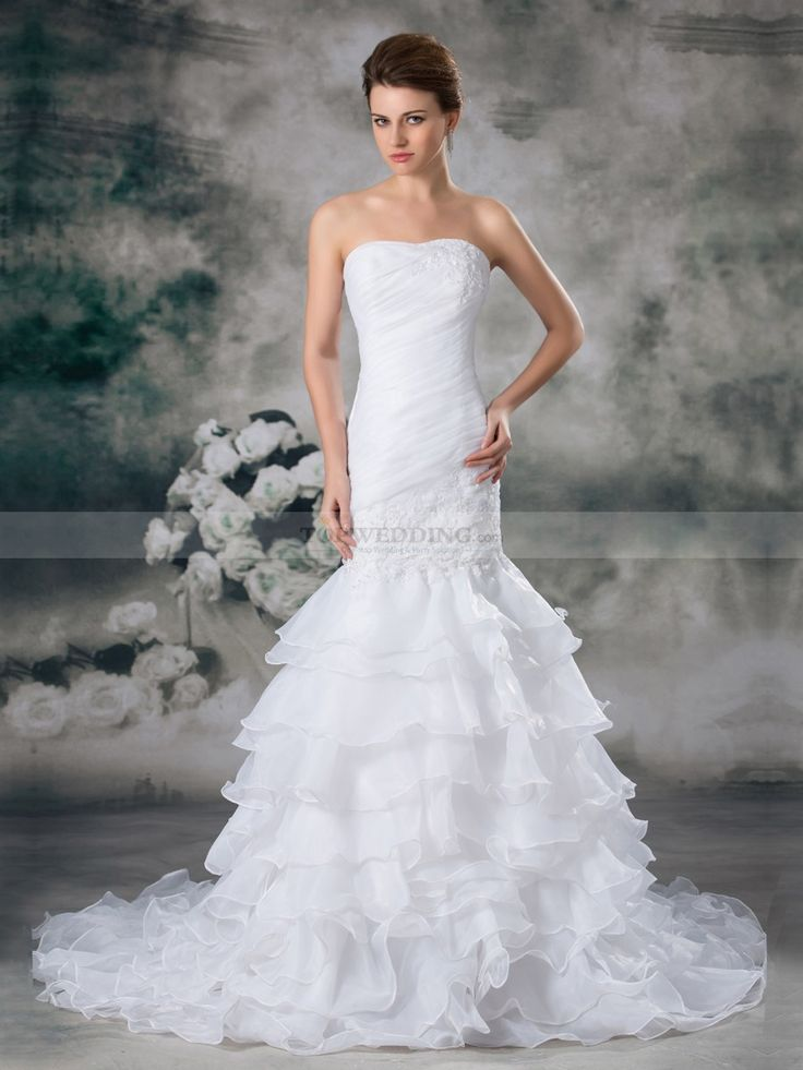 Annette - Без бретелек русалка свадебное платье из органзы