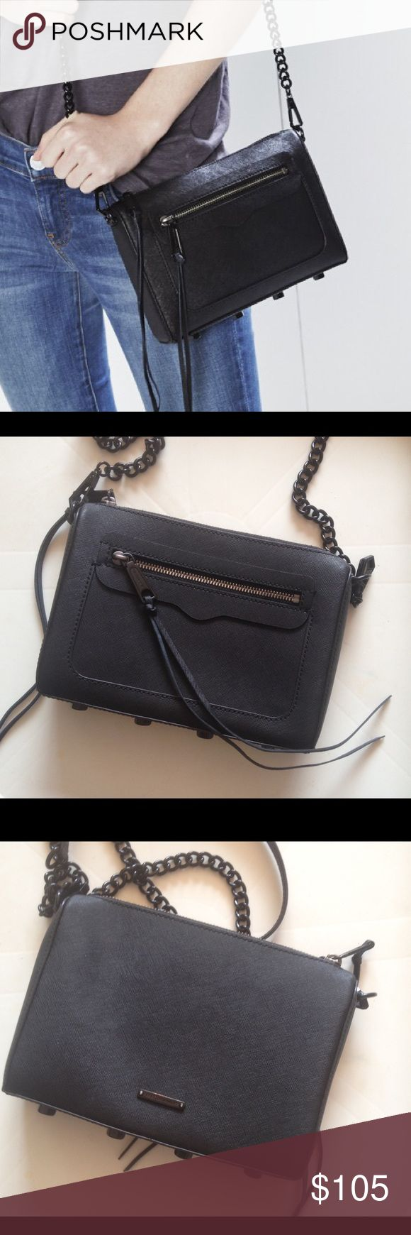 Rebecca Minkoff Avery Crossbody Bag Black Cute crossbody bag in excellent shape inside and out with some very minor discoloration to hardware. Rebecca Minkoff Bags Crossbody Bags