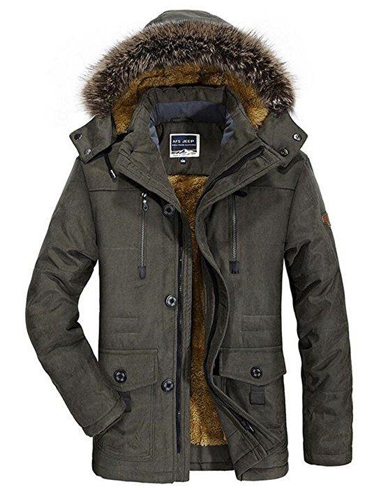 Herren Wärmejacke Parka Jacke Winterjacke Kapuze Übergangsjacke Kapuzenparka Jacket Mantel Wintermantel Mens Winter Coat Gefüttert (X-Small, Armee Grün)