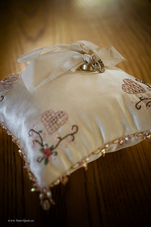 My mom made this stunning ring cushion for us.  Pink, ring cushion, lace, country wedding