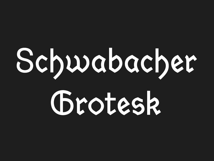 "Schwabacher Grotesk is a modern interpretation of the 15th century German typography ""Alte Schwabacher"". It is the transformation from Blackletter to Antiqua. Design Daniel Wenzel"