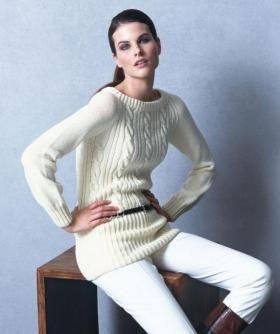 Длинный свитер реглан со жгутами